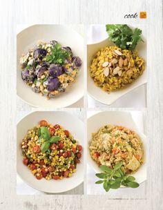 Purple Potato Salad, Curried Rice Salad, Grilled Corn Salad, and Artichoke and Quinoa Salad (page 57-58)