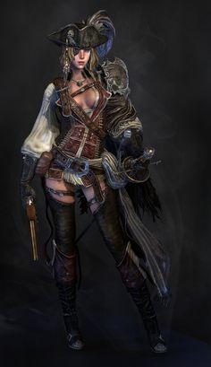 *Pirate Female - by Lee YongHyun (Yongdall) Pirate Art, Pirate Woman, Pirate Life, Lady Pirate, Character Concept, Character Art, Concept Art, Fantasy Characters, Female Characters