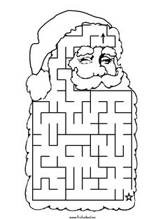 Find your way through my beard! Printable Santa Maze page that you can color, too!