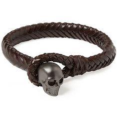 Alexander McQueen Metal Skull and Woven-Leather Bracelet