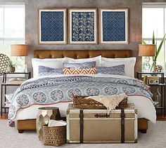 Love the Moroccan style and Blue w/ Orange scheme (Pia Medallion Quilt)