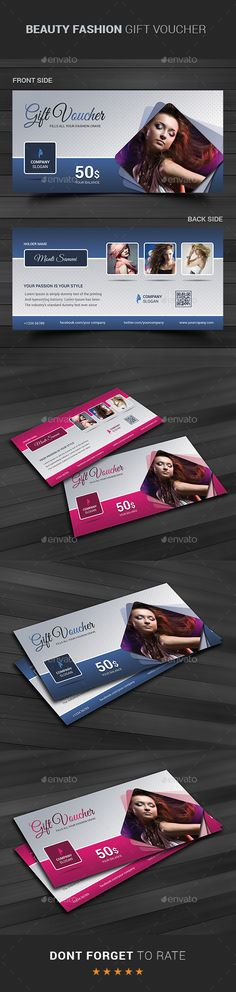Buy Beauty Fashion Gift Voucher by themedevisers on GraphicRiver. Modern Gift Card Certificate This Gift Voucher Card is best suitable for promoting your business, product or service. Gift Voucher Design, Gift Box Design, Gift Certificate Template, Gift Certificates, Restaurant Vouchers, Discount Vouchers, Beauty And Fashion, Print Templates, Cards