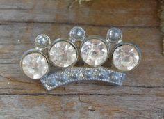 VTG ANTIQUE Edwardian Royal Crown Cast Pot Metal Paste Rhinestone Brooch Pin