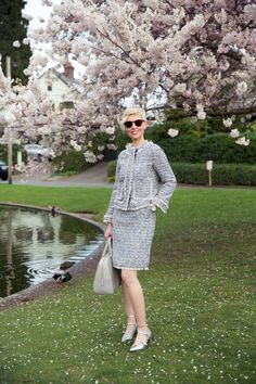I feel absolutely fabulous wearing my new bouclé dress and jacket together as a suit. Tweed Suits, Absolutely Fabulous, Tweed Jacket, Hair Cuts, Chic, Lady, Spring, Womens Fashion, Classic