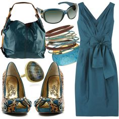 A fashion look from May 2009 featuring blue dress, blue shoes and blue purse. Browse and shop related looks.
