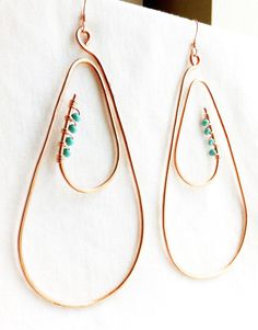 SPIRAL TEARS - Large copper Earrings w/sm turquoise beads by ZuriEarthlyDesigns on Etsy, $34.00
