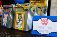 """Trying to plan a party that's """"more than meets the eye""""? These 17 totally cool Transformers party ideas can help you accomplish that mission. Just wait until you see the Bumblebee cake and fondant cupcake Transformers Birthday Parties, 6th Birthday Parties, Birthday Fun, Birthday Ideas, Fourth Birthday, Kid Parties, Rescue Bots Birthday, Transformer Birthday, Party Favor Bags"""