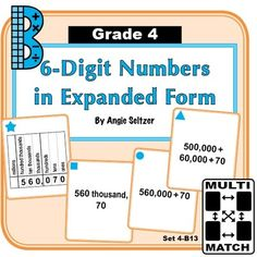 This set of 36 printable cards will help students learn to convert between standard and expanded form. Students will match numbers on a place value chart to other expressions for the number. ~by Angie Seltzer