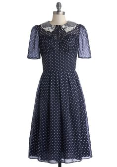Cross Your Teas Dress. Cups and saucers are on the table and scones are cooling by oven - time to check the last item off your party prep list and slip into this polka-dotted dress! #blue #modcloth