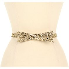 Kate Spade New York Glitter Bow Belt Light Gold - Zappos Couture