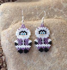 Purple Eskimo Peyote Beaded Earrings by DoubleACreations on Etsy