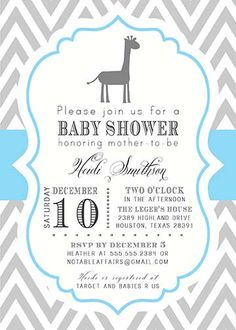 PRINTABLE Gray and Blue Chevron with Giraffe Baby Boy Shower Invitation - colors can be changed. $15.00, via Etsy.