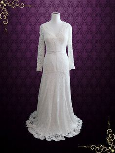 Slim A-line Lace Wedding Dress with Long Sleeves https://www.ieiebridal.com/collections/vintage-style-wedding-dresses #LaceWeddingDress