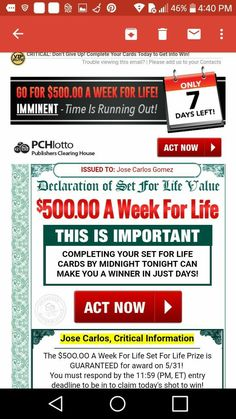 Win For Life, Change My Life, Gee Image, Lotto Winning Numbers, Publisher Clearing House, Congratulations To You, Top Of The World, Don't Give Up, Ads