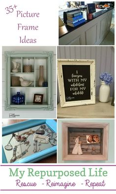 Picture Frame Ideas for Home Decor and More. Great ideas for thrift store pictur. - Picture Frame Ideas for Home Decor and More. Great ideas for thrift store picture frames, and hand - Repurposed Furniture, Home Decor Furniture, Furniture Makeover, Diy Home Decor, Furniture Design, Thrifty Decor, Refurbished Furniture, Furniture Online, Furniture Projects