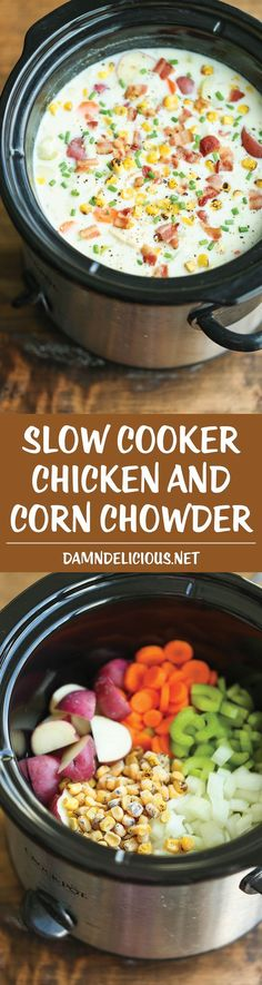 YUM!!!  Even our picky eater tolerated it! The eaters in our family really liked it!  Added more bacon. Slow Cooker Chicken and Corn Chowder - Such a hearty, comforting and CREAMY soup, made right in the crockpot. !