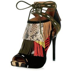 River Island RI Studio black print fringe heels (€140) ❤ liked on Polyvore featuring shoes, pumps, black open toe shoes, high heel shoes, black pumps, high heel pumps and fringe pumps