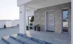 New House Plans, Dream House Plans, Stucco House Colors, Minimal House Design, Modern Exterior Doors, Modern Bungalow House, House Construction Plan, Door Gate Design, Latest House Designs
