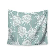"Gill Eggleston ""Protea Jade White"" Blue Flowers Wall Tapestry from KESS InHouse"