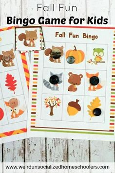Get your kids excited about all things fall with this fun fall bingo game for…