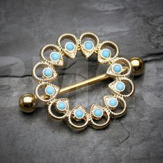 Golden Tribal Flora Turquoise Nipple Shield Ring by BM25Jewelry