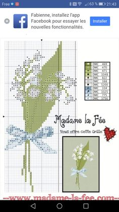 Lily Of The Valley, Le Point, Crochet, Cross Stitch Patterns, Embroidery, Knitting, Flower Chart, Punto De Cruz, Needlepoint