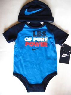 29511aa15 NIKE-LBS-PURE-POWER-2pc-Set-Baby-Infant-Boy-Blue-Cap-Bodysuit-9-12M