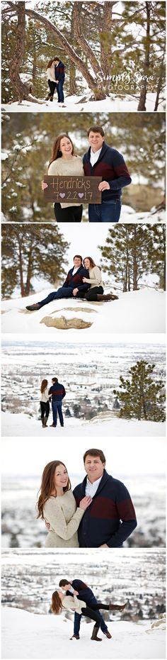 Outdoor Engagement Photo Ideas & Poses - Winter - Snow - Trees - Forest - Save-the-Date Sign - Billings, MT Wedding Photographer