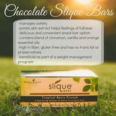 Chocolate Slique Bars - Young Living exclusive = beneficial part of a weight=management program