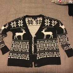 Fair isle cardigan Over sized cardigan, perfect for the upcoming holiday. Basically new, only worn once. Forever 21 Sweaters Cardigans
