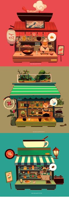ArtStation - Little Shops - Hamster Ramen, Ally Albon Art And Illustration, Illustrations And Posters, Vintage Illustrations, Pixel Art, Gfx Design, Ac New Leaf, Wow Art, Visual Development, Environment Design