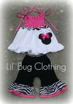 Custom Boutique Clothing Minnie Mouse Zebra and Pink Dots Smocked Top and Black Knit Capris. $47.50, via Etsy.