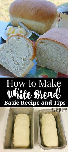 Basic white bread recipe with yeast that makes two loaves. This is an oven bread recipe from scratch can be used as sandwich bread. Includes step by step bread recipe instructions # White Bread Recipe Recipes With Yeast, Yeast Bread Recipes, Loaf Recipes, Bread Machine Recipes, Cooking Recipes, Bread Dough Recipe, Recipe For Bread, Homemade Sandwich Bread, Recipes Dinner