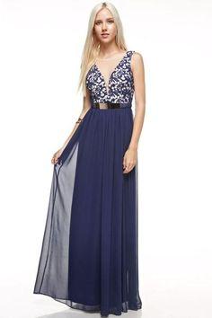 Affordable Chiffon long Bridesmaid Dress in Purple and Navy