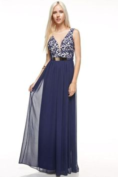 Affordable Chiffon long Bridesmaid Dress in Purple and Navy