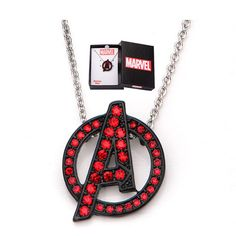 Necklaces Photography Avengers A Logo Red Bling Gems Necklace - Body Vibe - Avengers - Jewelry at Entertainment Earth - Marvel Clothes, Angel Wing Earrings, Marvel Avengers, Lego Marvel, Marvel Memes, Marvel Comics, Red Rhinestone, Cute Jewelry, Jewelry Necklaces