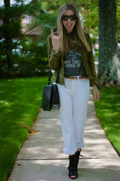 white jeans and band tees