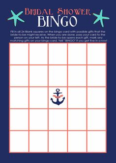 Nautical Bridal Bingo  Custom Bridal Shower Invite, Games and decorative signs that were framed. Ideas by bridal party, designs by KatieDiDesigns on Etsy. Link below.   https://www.etsy.com/shop/katiedidesigns  Nautical Bridal Shower Wedding Navy Blue Coral Teal Mint Chevron Waterfront