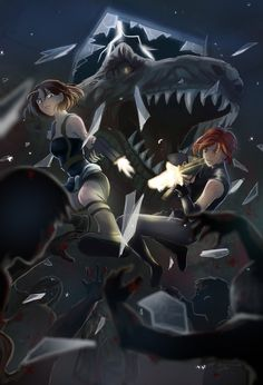 Regina of Dino Crisis and Jill Valentine of Resident Evil. Out of the frying pan and into the fire. They got away from the t-rex only to land on a den o. Regina and Jill Valentine Dino Crisis, Resident Evil 3 Remake, Resident Evil Game, Dinosaur Hunter, Dinosaur Art, Evil Pictures, Horror Video Games, Jill Valentine, Fandom