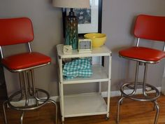 Pair of Chrome and Vinyl vintage bar stools $125 - Chicago http://furnishly.com/catalog/product/view/id/815/s/pair-of-chrome-and-vinyl-vintage-bar-stools/