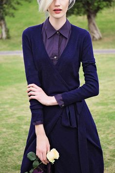 Navy Wrap Front Dresses