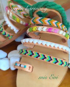 Green harmony!!!! Handmade leather sandals Pom Pom Sandals, Greek Sandals, Bangles, Bracelets, Handmade Leather, Leather Sandals, Fashion Beauty, Green, Jewelry
