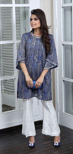 Playing Dress Up with Cross Stitch - Sunday Kurti Designs Party Wear, Kurta Designs, Blouse Designs, Indian Attire, Indian Wear, Stylish Dresses, Fashion Dresses, Sleeves Designs For Dresses, Pakistani Outfits