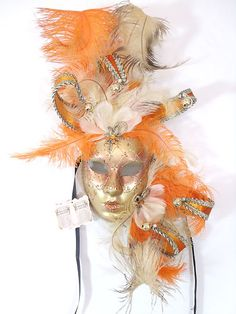 Orange Gold Feather Venetian Masquerade Mardi Gras Mask Decorative Wall Masks | eBay