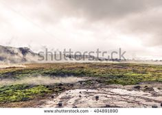 Geothermal activity in a landscape from Iceland in cloudy weather