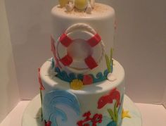Baby Shower Cake with Beach Theme to match invitations.