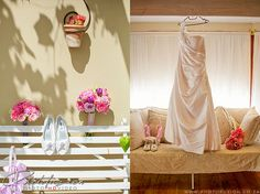 Wedding Preparations, #WeddingDress #Shoes #Bouquet #Flowers