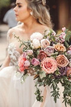 Featured Photographer: Alicia Lucia Photography; Exquisite pink wedding bouquet featuring different flower types