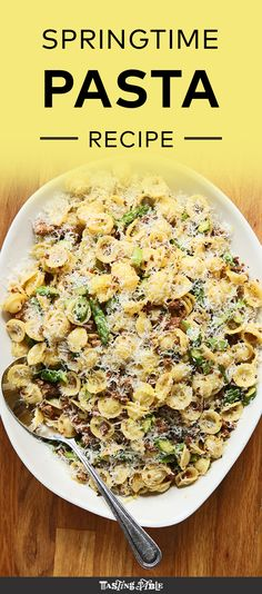 Watch and learn how to make a light and spicy spring pasta with crumbled Italian sausage, sweet asparagus, spring garlic and a touch of lemon.