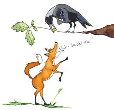 The Fox and The Crow, Aesops Fables created for Macmillan Publishing Dip Pen, Crow, Raven, Old Things, Graphic Design, Watercolor, Ink, Traditional, Illustration
